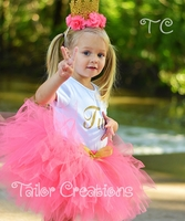 Coral and Gold Personalized Birthday tutu set