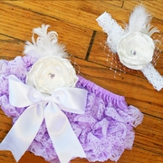 Coture Posh Lavender Lace Petti-Bloomers & Headband Set