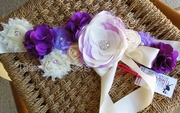 Cream, Lavender and Purple Maternity Sash