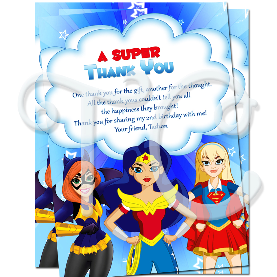 Superhero girls personalized thank you cards dc superhero girls personalized thank you cards monicamarmolfo Images