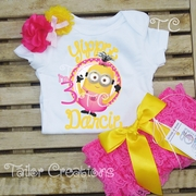 Despicable me Pink Girl Minions personalized Petti Lace Set