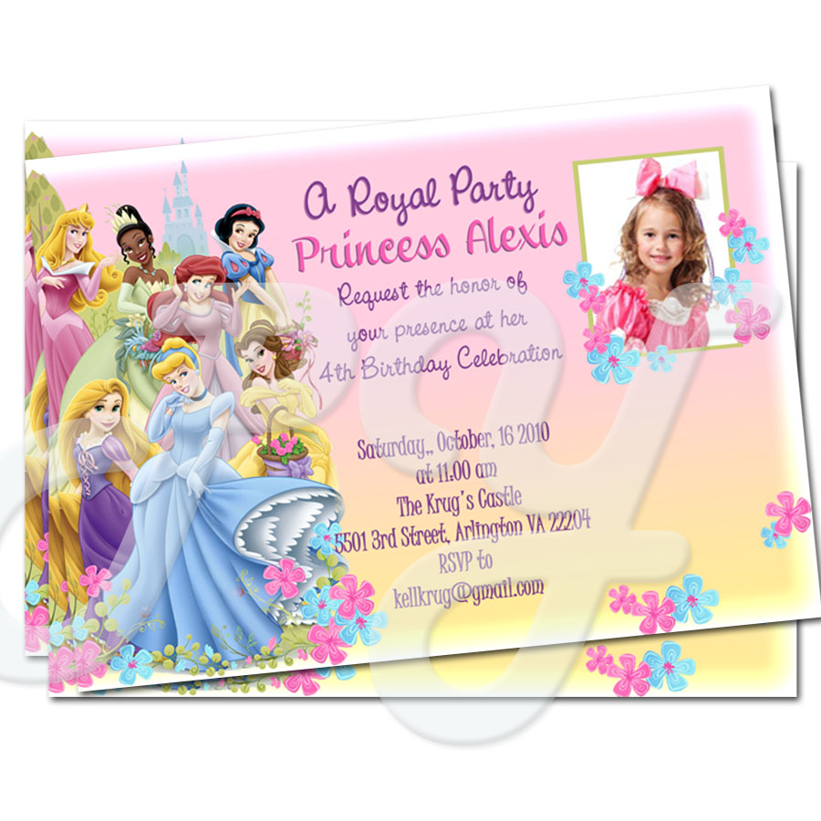 Princess personalized Invitations – Personalized Disney Birthday Invitations