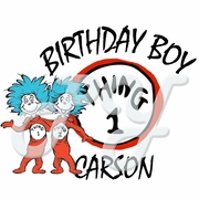 Dr Seuss Thing 1 & Thing 2 personalized birthday t shirt