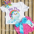 Fairytale Unicorn Rainbow Personalized Birthday petti lace set