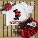 Fancy Ladybug 1st Birthday Personalized Satin bloomers set