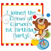 Fisher Price 1st Birthday Circus Personalized Party Favor