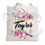 Floral Watercolor Wreath Personalized Tote Bag