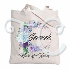 Floral Watercolors Heart Personalized Tote Bag