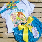 Frozen Fever Elsa and Anna Personalized Petti Lace Set