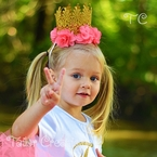 Glitter Gold Lace Crown with Chiffon Flowers