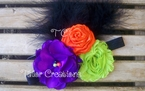 Halloween Satin Chiffon Flower Vintage Inspired Feather Headband