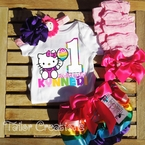 Hello Kitty Rainbow Personalized 1st Birthday Satin bloomers Set