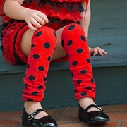 Ladybug Red and Black polka dot Kids Leg Warmers