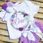 Lavender and Purple Floral Wreath First Birthday Petti Lace Bloomers Set