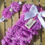 Lavender Posh Petti Lace Romper Shabby Chic Jewel Headband Set