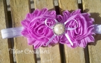 Lavender Shabby Chic Jewel flowers Headband
