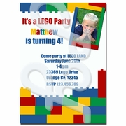 Lego theme party Invitations