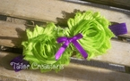Lime Green and Purple Shabby Chic flowers Headband