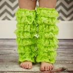 Lime Green Petti Lace Leg Warmers