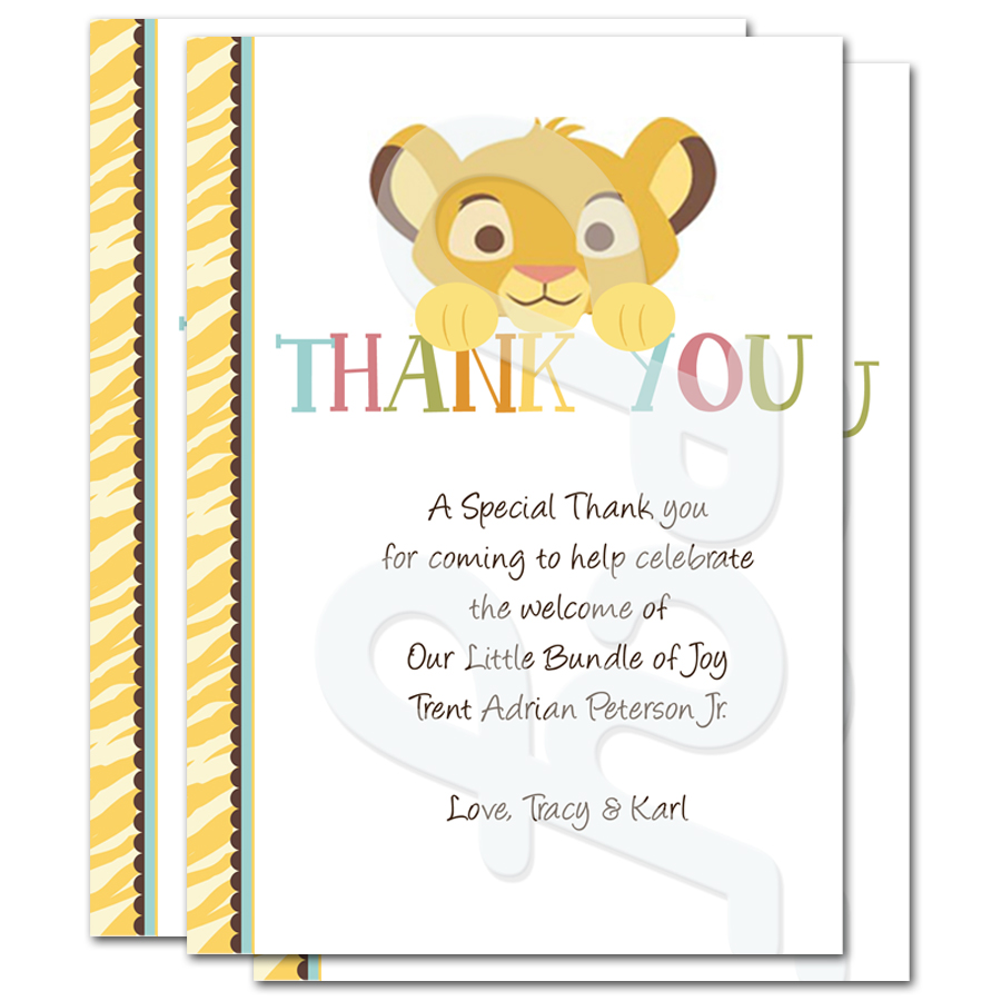 Thank You Quotes For Baby Gift: Lion King Baby Shower Personalized Thank You Cards