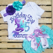 Mermaids Under the Sea Personalized Birthday Petti Lace Set