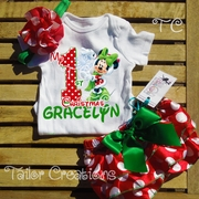 Minnie Mouse 1st Christmas Satin Bloomers Set