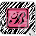 Monogrammed Pink and Zebra Mouse Pad