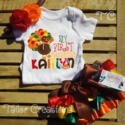 My First Thanksgiving Turkey Personalized Satin Bloomer set