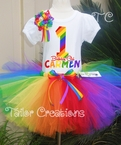 Personalized 1st Birthday Rainbow Tutu Set