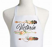 Personalized Arrow and Watercolor Floral apron