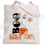 Personalized Halloween ghost tote bag
