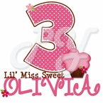 Personalized Lil' Miss Sweet Cupcake Polka dot t-shirt