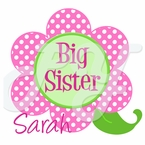Personalized Polka dot Flower Big/Little Sister T-shirt