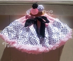Pink and Black Polka dot pettiskirt and Ribbon Rose Headband Set