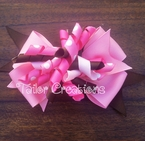 Pink and Brown Korker Bow Clip