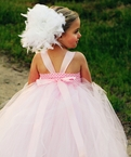 Pink and White Boa Feather tutu Dress