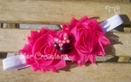 Pink and White Minnie Mouse Shabby Chic flowers Headband