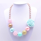 Pink, Aqua and Gold Bubblegum Chunky Necklace