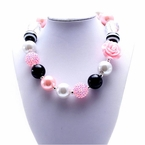 Pink, black and white Bubblegum Chunky Necklace