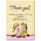 Pink Cowgirl personalized Thank you cards