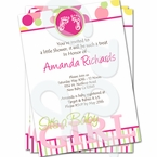 Pink Footprints-It's a Girl Baby Shower Invitations