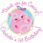 Pink Hippo Personalized birthday sticker
