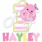 Pink Hippo Personalized birthday t-shirt
