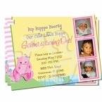 Pink Hippo Personalized Invitations