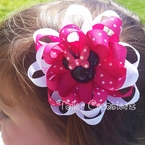 Pink Minnie Mouse Loopy Flower Grosgrain Ribbon Hair bow