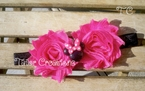 Pink Minnie Mouse Shabby Chic flowers Headband
