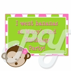 Pink Mod Monkey personalized party favor