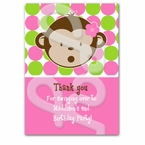 Pink Mod Monkey Personalized Thank you Cards