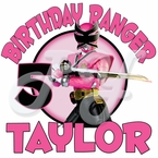 Pink Power Ranger Samurai personalized birhtday t shirt