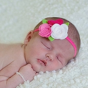 Pink to white Trio Felt Rose Headband
